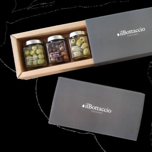 Geschenkbox Tris Oliven in Salzlake