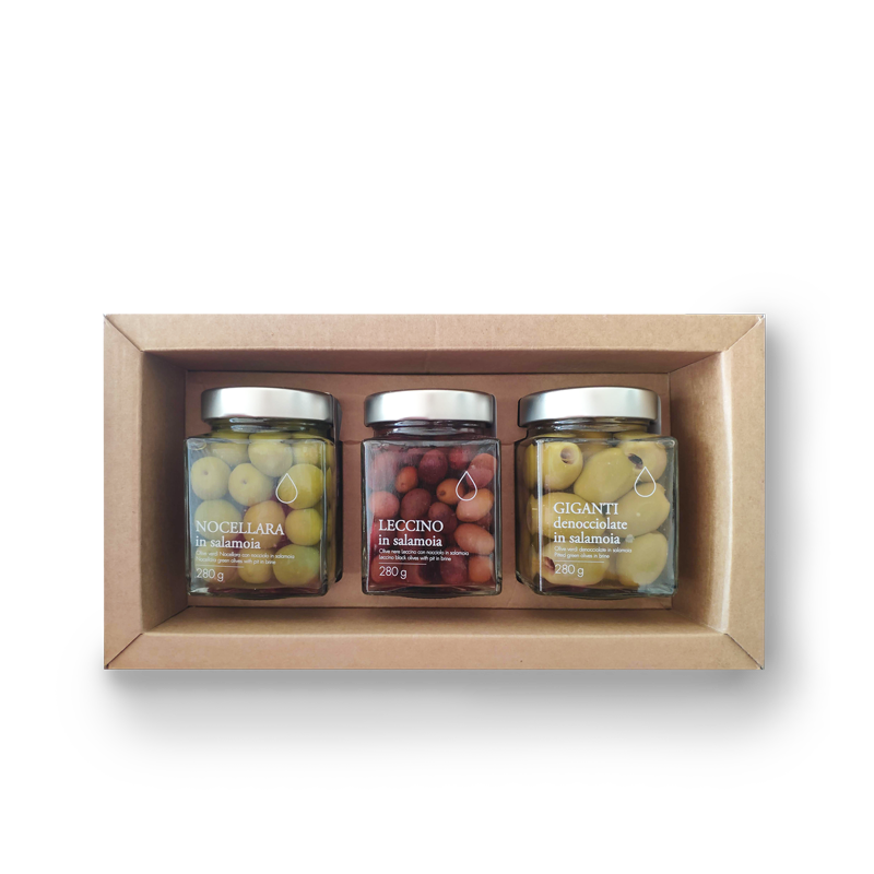 Idea regalo tris olive in salamoia