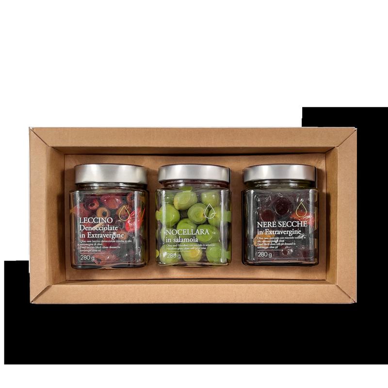 Astuccio regalo tris olive in olio extravergine di oliva