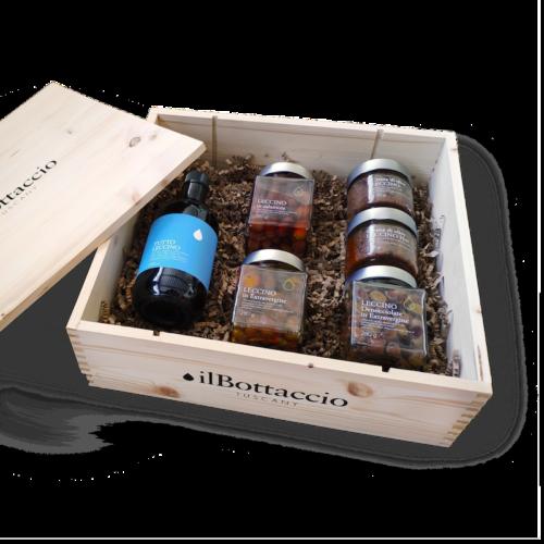 Geschenkbox aus Holz mit Leccino-Oliven