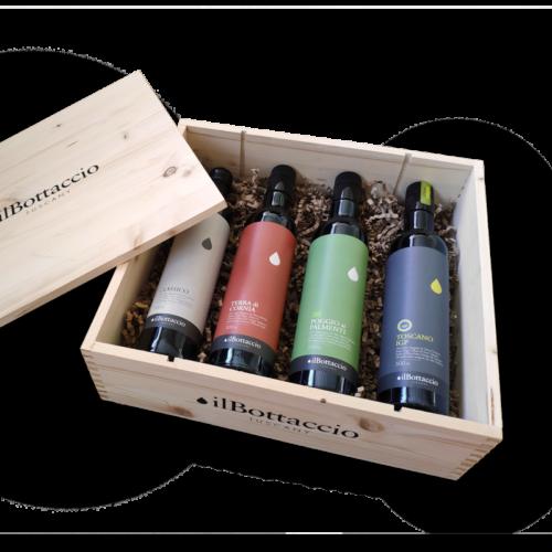 Geschenkbox mit toskanischem Olivenöl extra vergine