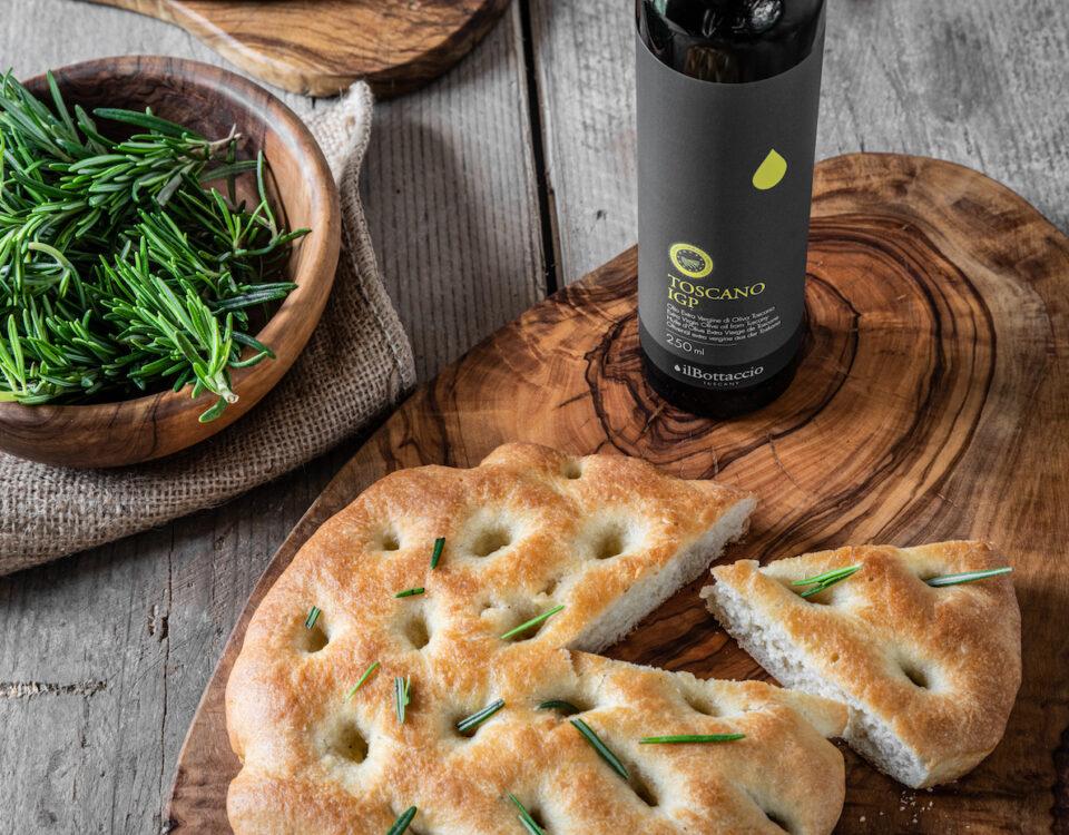 Focaccia Toscana con Olio Extravergine Toscano I.G.P. e rosmarino